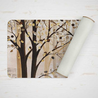 bath mat with trees in brown and beige