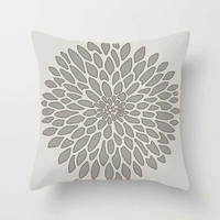 gray cushion with floral design