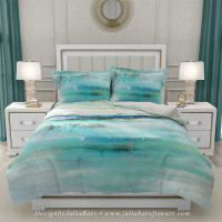 coastal bedding set with pillow shams in blue and white