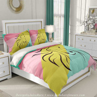 duvet cover with horse silhouette in aqua blue, yellow and pink