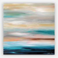abstract coastal painting by Julia Bars, teal gray