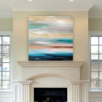 abstract seascape painting by Julia Bars on the wall