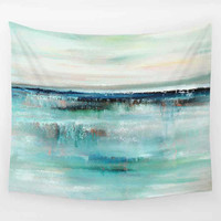 Wall Hanging Tapestry,  Abstract Coastal Art Tapestry, Blue Teal