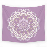 Mandala Wall Tapestry, Lavender, Gold and White