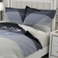 comforter cover in black and gray with horse