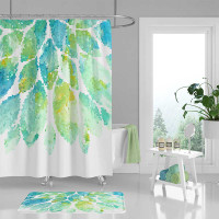 shower curtain in mint green, blue and white tones