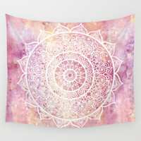pink mandala wall tapestry by Julia Bars