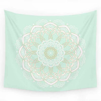 Mint and Gold Wall Tapestry with Mandala Design, Dorm Wall Decor