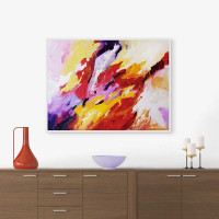 large abstract art print, red, purple and yellow by Julia Bars