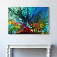 seascape and corals painting in blue, aqua, red and yellow