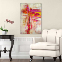 abstract canvas print in red, gold and purple