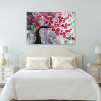 blooming peach tree painting by Julia Bars