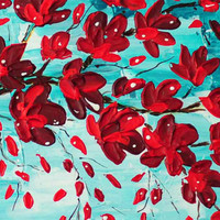 close up image of original floral painting of cherry tree