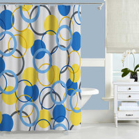 blue and yellow shower curtain with geometric design by Julia Bars