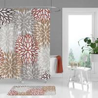 modern bath curtain and bath mat with floral design