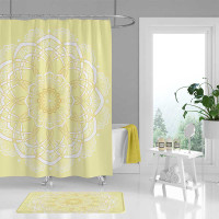 boho shower curtain with mandala in yellow and white