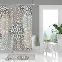 neutral tones shower curtain and bath mat.
