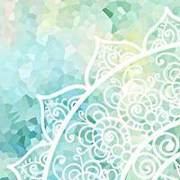 Mandala Duvet Cover and Pillow Shams in Aqua Blue, Mint Green and White