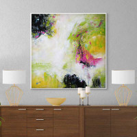 large abstract wall art in white, black, yellow, green and pink