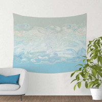 abstract tapestry, blue, white and gray