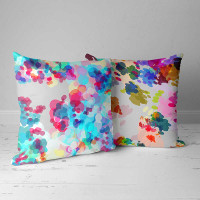 throw cushions in blue, purple and white