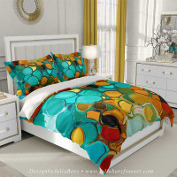 Abstract duvet cover, teal, green, orange