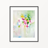 white, pink, green floral painting, printable wall decor