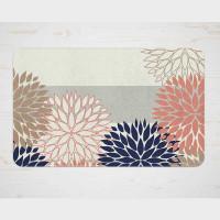 navy blue and pink floral bath mat