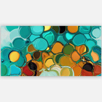 Colorful abstract print on canvas, turquoise, teal, orange