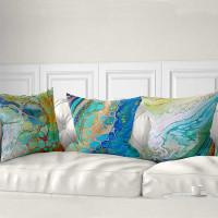 sea art cushions in blue, aqua, turquoise and green