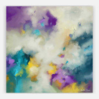 modern abstract painting by Julia Bars in tones of purple, yellow and white