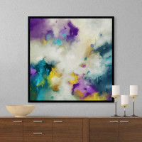 large abstract painting, purple, yellow, teal and white