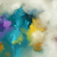 fragment of the abstract wall art in teal, yellow and white