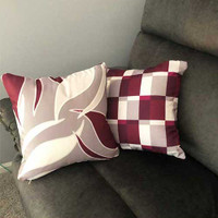 Wine Magenta Beige Gray Decorative Pillow Covers, Geometric, Floral Throw Pillow Case