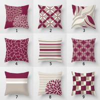 Wine and gray  throw pillows by Julia Bars