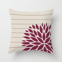 unique floral pillow cover, beige and wine