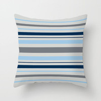 blue and gray striped throw pillow