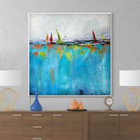 abstract seascape painting, giclee print, blue, red, green
