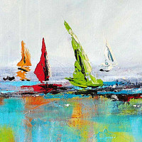 Large Coastal Wall Art, Giclee Print, Boat Painting, Blue Red Green