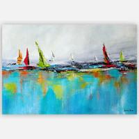 modern wall art print, ocean and yacht art, blue, red, orange