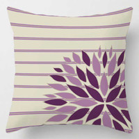 striped floral pillow in beige and purple
