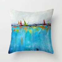 decorative cushion cover printed with original seascape painting, blue, red, green, orange.