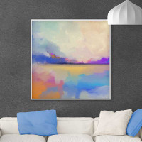 abstract seascape painting on the wall, blue, orange, purple, white