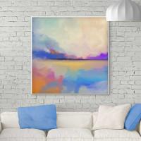 large modern coastal painting, purple, blue, orange by Julia Bars