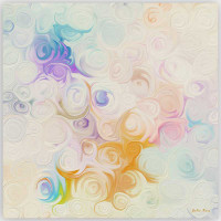 modern floral art print in pastel colors