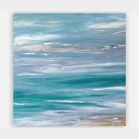 original abstract coastal painting, blue and gray
