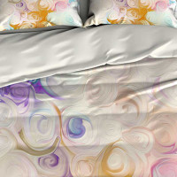 Abstract Duvet Cover, Doona Cover with Pillow Shams, Yellow, Purple