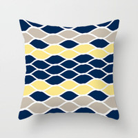 Blue, Yellow and Beige Throw Pillow Covers, Geometric, Striped, Floral Design