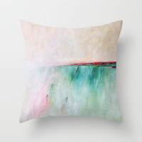 pink, yellow and blue decorative pillow by Julia Bars