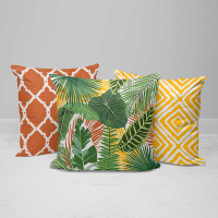 Outdoor Pillows with Tropical Banana Palm Leaves, Green, Yellow, Orange
